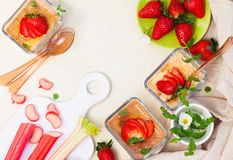 Rhubarb and strawberry dessert Royalty Free Stock Images