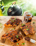 Preparing ribs for a BBQ with savory basting sauce Royalty Free Stock Images