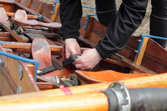 Historic rowboat is being prepared Royalty Free Stock Images