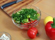 Preparing salad Stock Photo