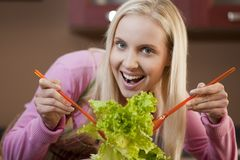 Preparing salad Stock Images