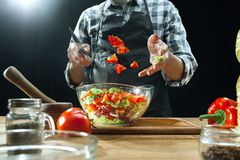 Preparing salad. Female chef cutting fresh vegetables. Cooking process. Selective focus stock photos