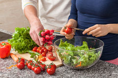 Preparing a salad with fresh vegetables Stock Images