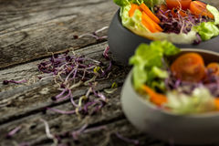 Preparing salad with radish sprouts, carott, green salad, tomato. Served on  an old wooden table Stock Photography