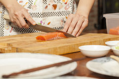 Preparing salmon Stock Photography