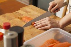 Preparing salmon Royalty Free Stock Photo