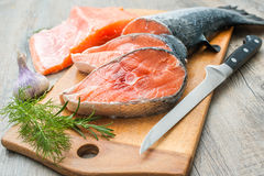 Preparing of salmon fish Royalty Free Stock Photography