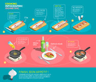 Preparing Salmon Steaks Infographics. Cooking infographic isometric poster with visual instructions for cooking fish steaks with text captions and arrows vector Stock Photography