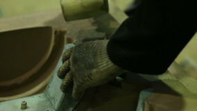 Preparing sand mold for casting stock video footage