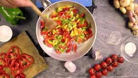 Preparing sauce for pasta with pepper stock video footage