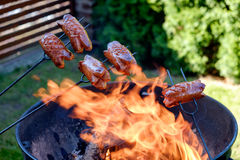 Preparing sausages on camp fire Royalty Free Stock Photography