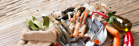 Preparing seafood paella Royalty Free Stock Image
