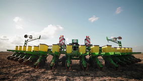 Preparing the seeding cultivator stock video