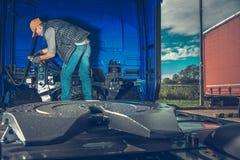 Preparing Semi Truck stock images