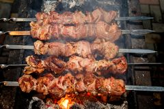 Preparing shashlik on mangal Stock Photos