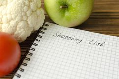 Preparing the shopping list before going to buy the groceries. Royalty Free Stock Photo