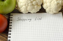 Preparing the shopping list before going to buy the groceries. Royalty Free Stock Images