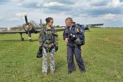 Preparing for skydiving in tandem Royalty Free Stock Photos