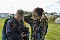 Preparing for skydiving in tandem Royalty Free Stock Photo