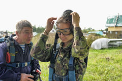 Preparing for skydiving in tandem Royalty Free Stock Photo