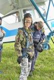 Preparing for skydiving in tandem Stock Image
