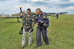 Preparing for skydiving in tandem Stock Photo