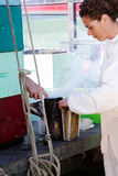 Preparing smoker for working with bees Stock Images