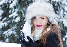 Preparing for a snowball fight Stock Photography