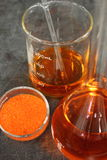Preparing a solution from the salt of sodium dichromate. In laboratory Royalty Free Stock Photos