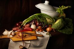 Preparing soup. Stilllife with vegetables in vintage holland style on dark background Royalty Free Stock Images