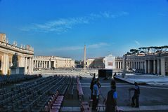 Preparing for the Speech of the Pope in the square at St. Peter's Basilica Stock Image