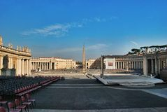 Preparing for the Speech of the Pope in the square at St. Peters Basilica Royalty Free Stock Photo