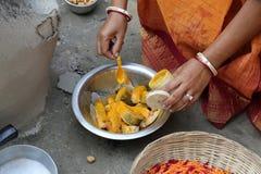 Preparing spicy and hot fish curry, Kumrokhali, West Bengal, India Stock Photos