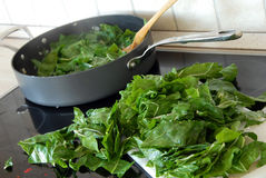 Preparing spinach Stock Photo