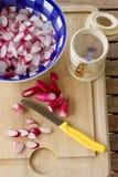Preparing spring radish salad. Enjoying spring – preparing salad or pickles from fresh radish Stock Photography