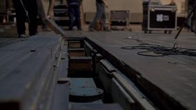 Preparing the stage for a concert in the opera house stock video footage