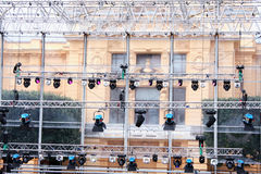 Preparing stage with lights. Preparing a large stage with lights for live concert royalty free stock photography
