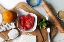 Preparing Strawberry Pastry Royalty Free Stock Photo