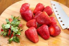 Preparing Strawberry Salad royalty free stock photo