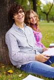 Preparing students in park Stock Image