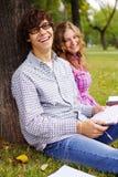 Preparing students in park Stock Image