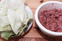 Preparing stuffed cabbage, Polish cuisine specialty. Stock Photo