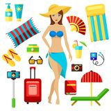Preparing for summer beach vacation, travel, trip, journey vector set. Planning, girl packing check list. Vacation female elements. Preparing for summer beach Stock Photography