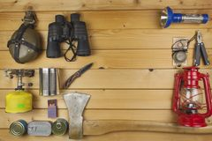 Preparing for summer camping. Things needed for an epic adventure. Stock Images
