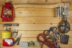Preparing for summer camping. Things needed for an epic adventure.  Stock Photo