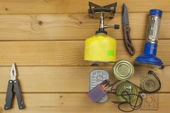 Preparing for summer camping. Things needed for an epic adventure. Stock Image