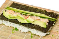 Preparing sushi roll Royalty Free Stock Photography
