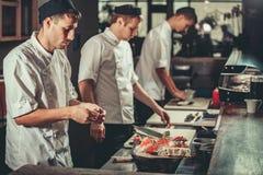 Preparing sushi set in restaurant kitchen Stock Image