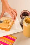 Preparing sweet sandwiches Royalty Free Stock Photo
