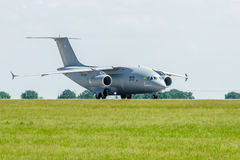 Preparing for takeoff military transport aircraft Antonov An-178. Stock Image